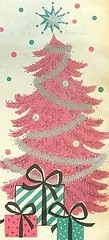 Vintage Pink Christmas Tree Card